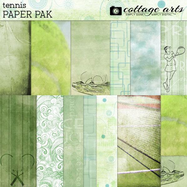Tennis Paper Pak Digital Art - Digital Scrapbooking Kits