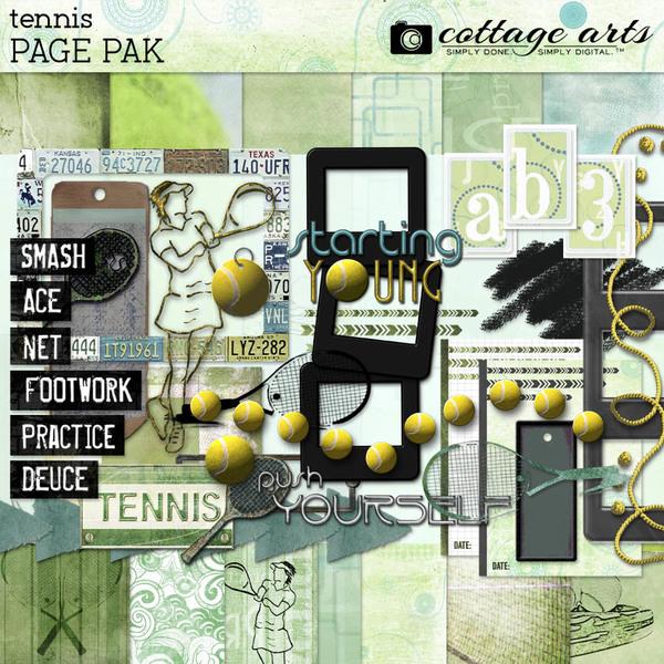 Tennis Page Pak Digital Art - Digital Scrapbooking Kits