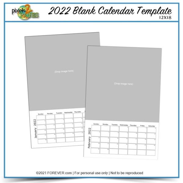 2022 12x18 Blank Calendar Template