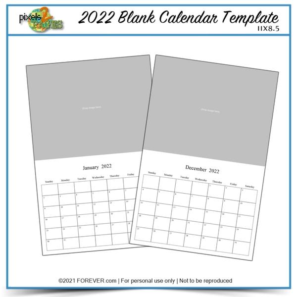 2022 11x8.5 Blank Calendar Template Digital Art - Digital Scrapbooking Kits