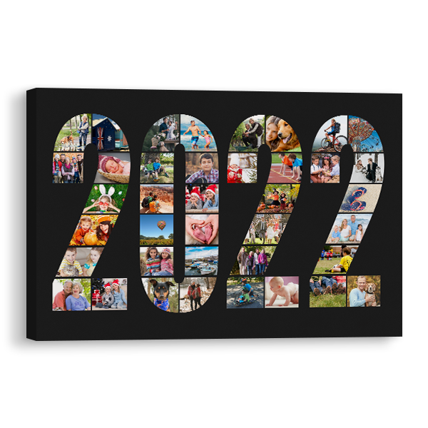 2022 Word Collage Canvas in Black