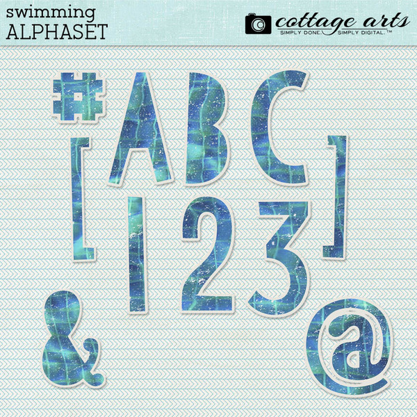 Swimming AlphaSet Digital Art - Digital Scrapbooking Kits