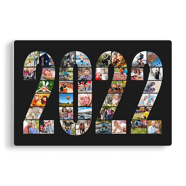 2022 Word Collage Panel in Black Panel