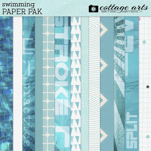 Swimming Paper Pak Digital Art - Digital Scrapbooking Kits