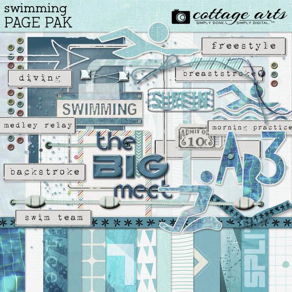 Swimming Page Pak Digital Art - Digital Scrapbooking Kits