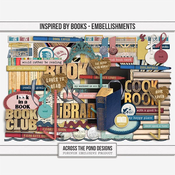 Inspired By Books - Embellishments Digital Art - Digital Scrapbooking Kits