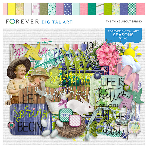The Thing About Spring Page Kit Digital Art - Digital Scrapbooking Kits