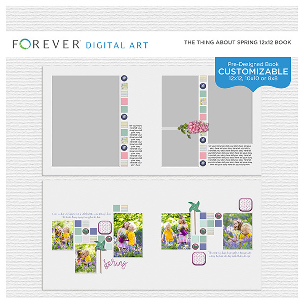 The Thing About Spring Pre-Designed Book 12x12 Digital Art - Digital Scrapbooking Kits