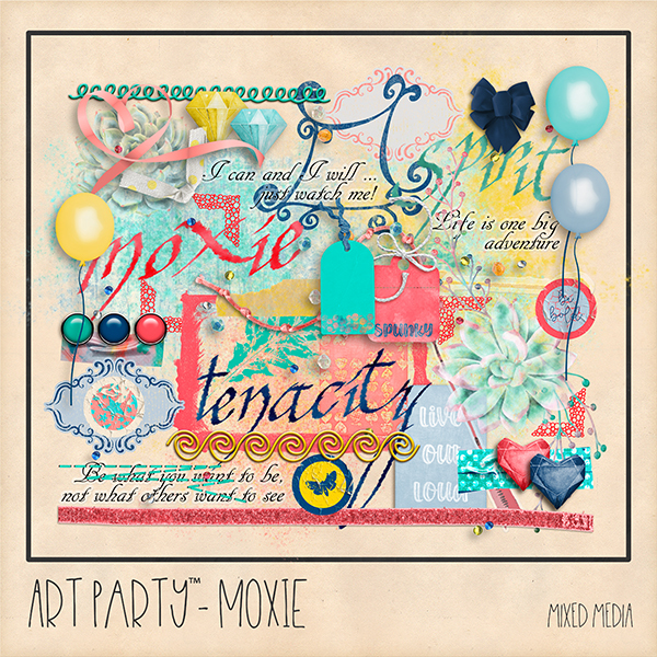 Moxie Mixed Media Embellishments Digital Art - Digital Scrapbooking Kits