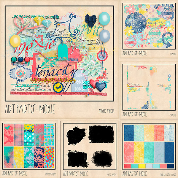 Moxie Complete Collection Digital Art - Digital Scrapbooking Kits