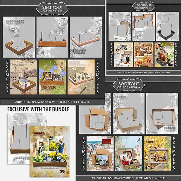 Artistic License Memory Boxes Bonus Bundle 8.5x11 Digital Art - Digital Scrapbooking Kits