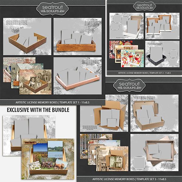 Artistic License Memory Boxes Bonus Bundle 11x8.5 Digital Art - Digital Scrapbooking Kits