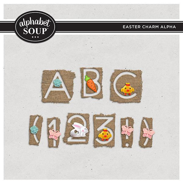 Easter Charm Alpha Digital Art - Digital Scrapbooking Kits