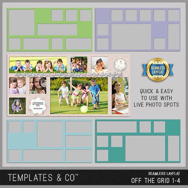 Seamless Layflat Off the Grid 1-4 Digital Art - Digital Scrapbooking Kits