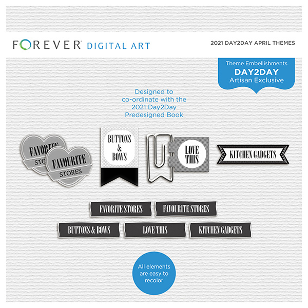 2021 Day2Day April Themes Digital Art - Digital Scrapbooking Kits