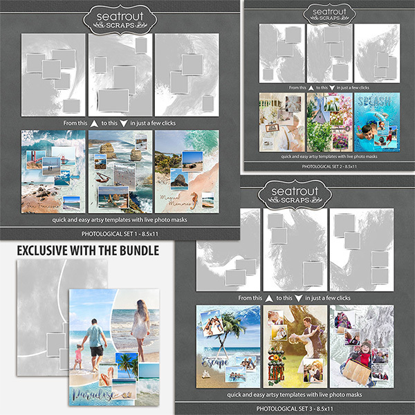 Photological Bonus Bundle 1 - 8.5x11 Digital Art - Digital Scrapbooking Kits