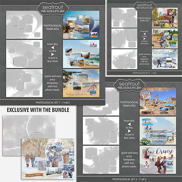 Photological Bonus Bundle 1 - 11x8.5 Digital Art - Digital Scrapbooking Kits