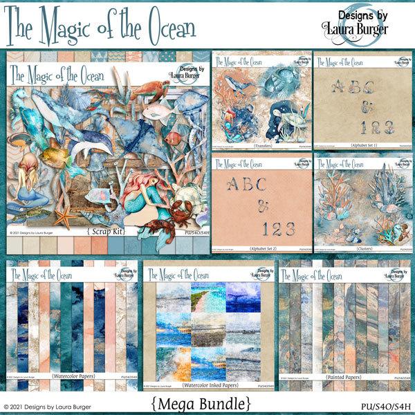 The Magic of The Ocean Bundle Digital Art - Digital Scrapbooking Kits