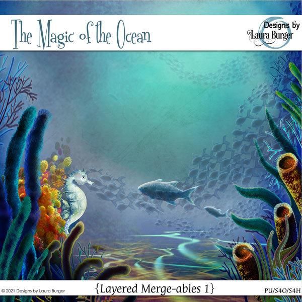 The Magic of The Ocean Merge-ables 1 Digital Art - Digital Scrapbooking Kits