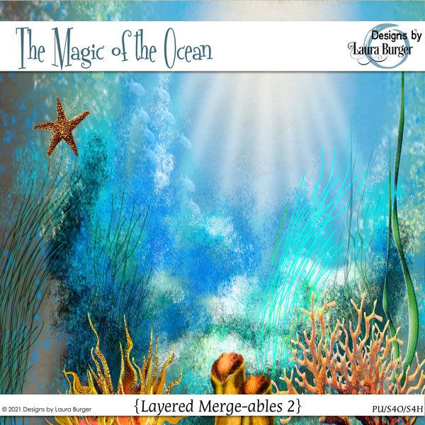 The Magic of The Ocean Merge-ables 2 Digital Art - Digital Scrapbooking Kits
