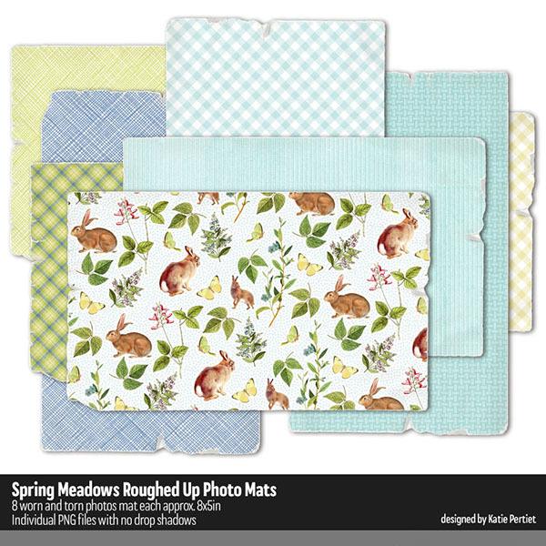 Spring Meadows Roughed Up Photo Mats Digital Art - Digital Scrapbooking Kits