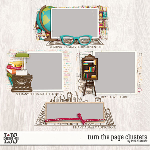 Turn The Page Clusters Digital Art - Digital Scrapbooking Kits