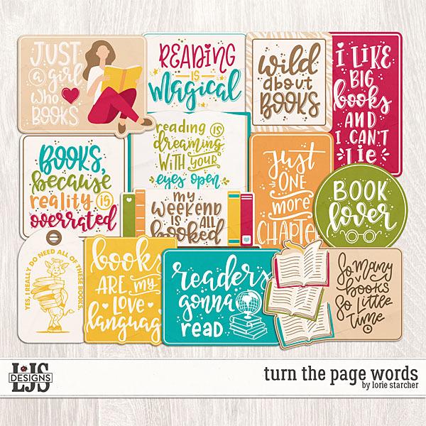 Turn The Page Words Digital Art - Digital Scrapbooking Kits