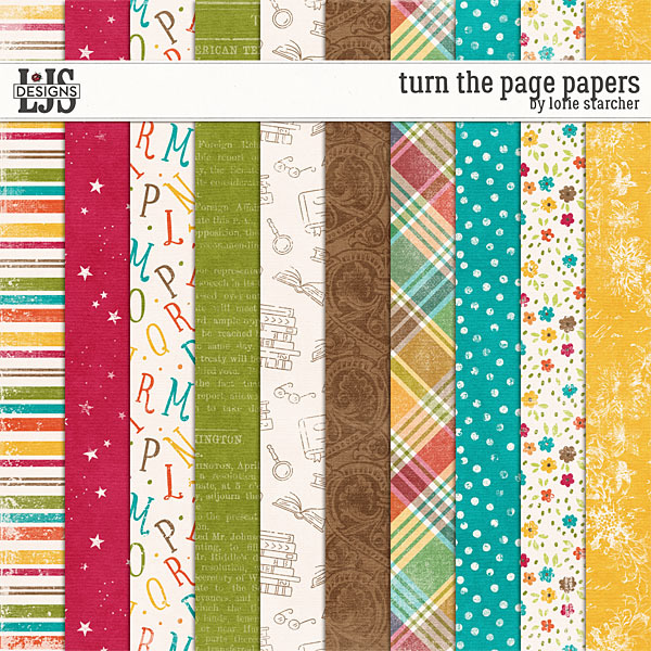 Turn The Page Papers Digital Art - Digital Scrapbooking Kits