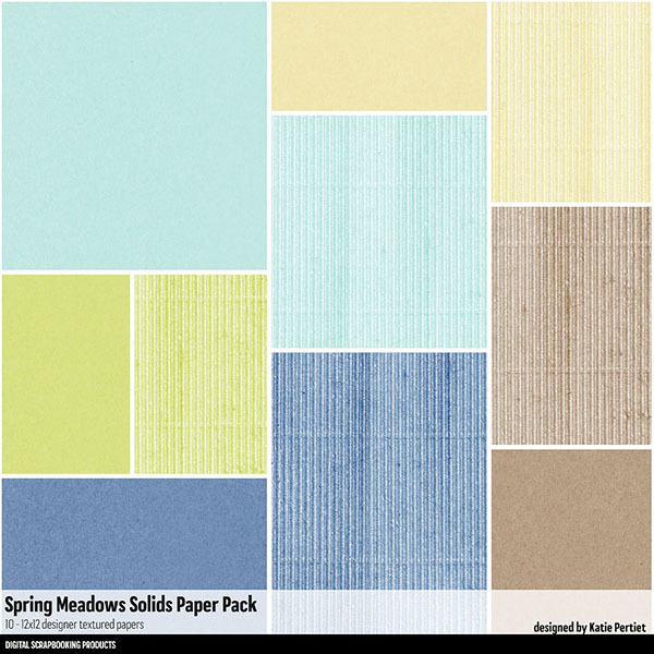 Spring Meadows Solids Paper Pack Digital Art - Digital Scrapbooking Kits