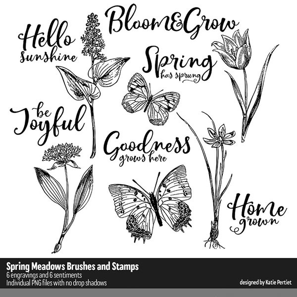 Spring Meadows Brushes and Stamps Digital Art - Digital Scrapbooking Kits