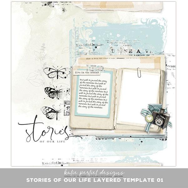 Stories of our Life Layered Template 01 Digital Art - Digital Scrapbooking Kits