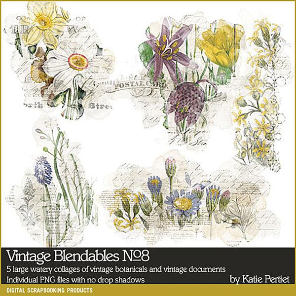 Vintage Blendables 08 Digital Art - Digital Scrapbooking Kits