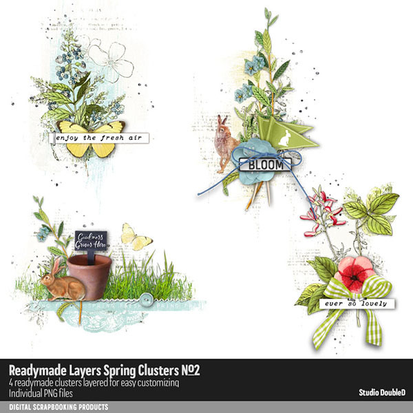 Readymade Layers Spring Clusters 02 Digital Art - Digital Scrapbooking Kits