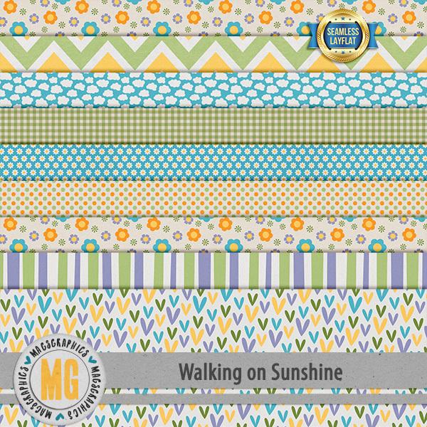Walking On Sunshine SLF Papers Digital Art - Digital Scrapbooking Kits
