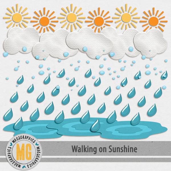 Walking On Sunshine Borders Digital Art - Digital Scrapbooking Kits