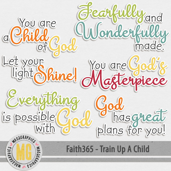 Faith365 Train Up A Child Word Art Digital Art - Digital Scrapbooking Kits