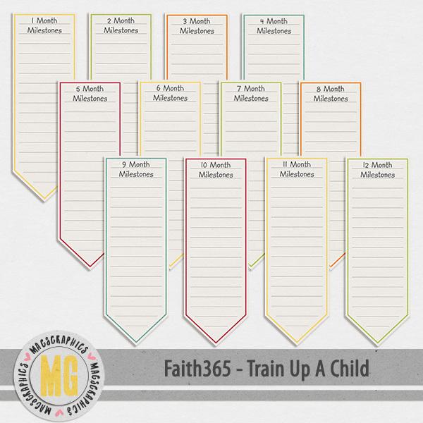 Faith365 Train Up A Child Milestone Tags Digital Art - Digital Scrapbooking Kits
