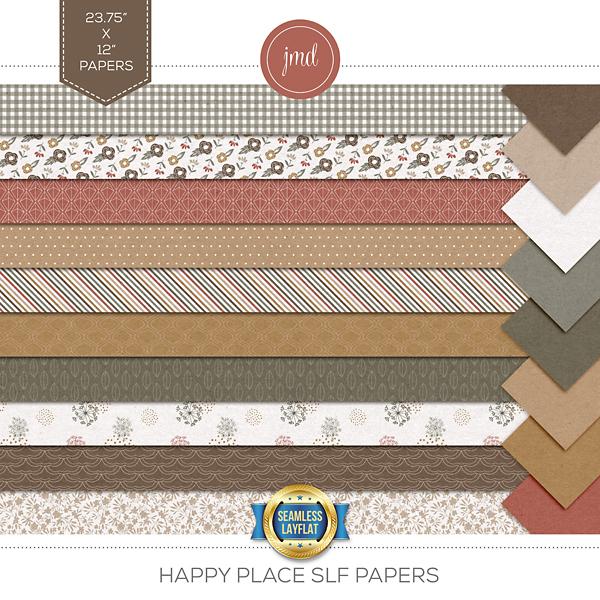 Happy Place SLF Papers Digital Art - Digital Scrapbooking Kits