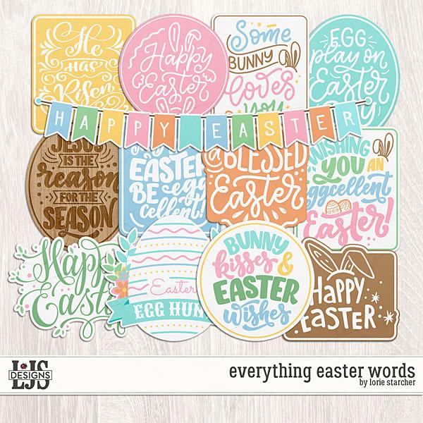Everything Easter Words Digital Art - Digital Scrapbooking Kits