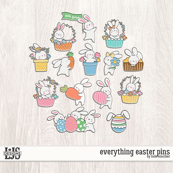 Everything Easter Pins Digital Art - Digital Scrapbooking Kits