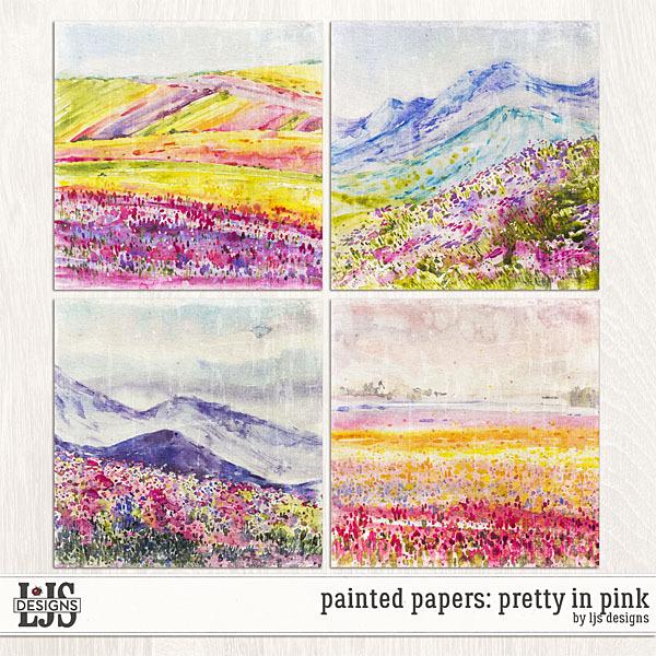 Painted Papers - Pretty In Pink Digital Art - Digital Scrapbooking Kits