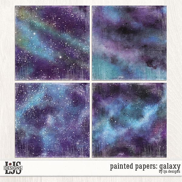 Painted Papers - Galaxy Digital Art - Digital Scrapbooking Kits