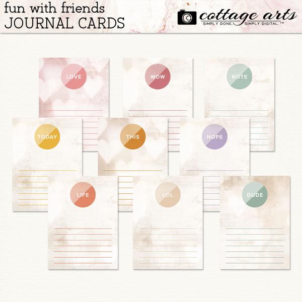 Fun with Friends Journal Cards Digital Art - Digital Scrapbooking Kits