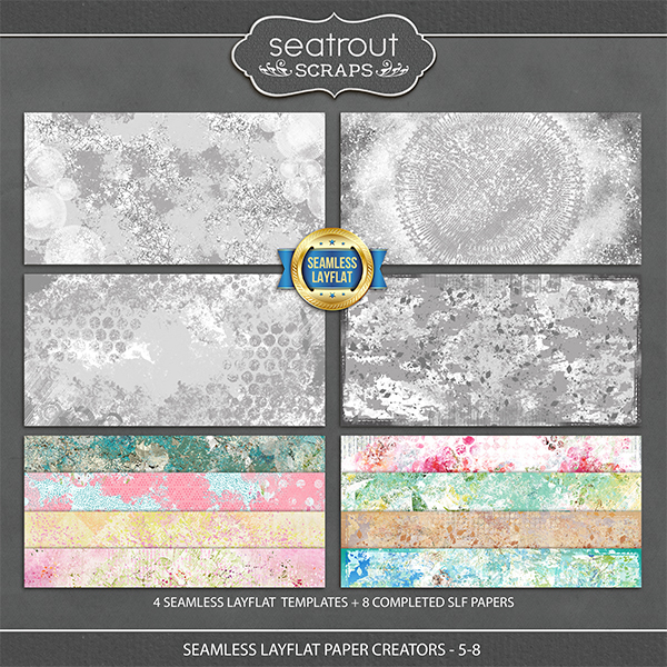 Seamless Layflat Paper Creators 5-8 Digital Art - Digital Scrapbooking Kits