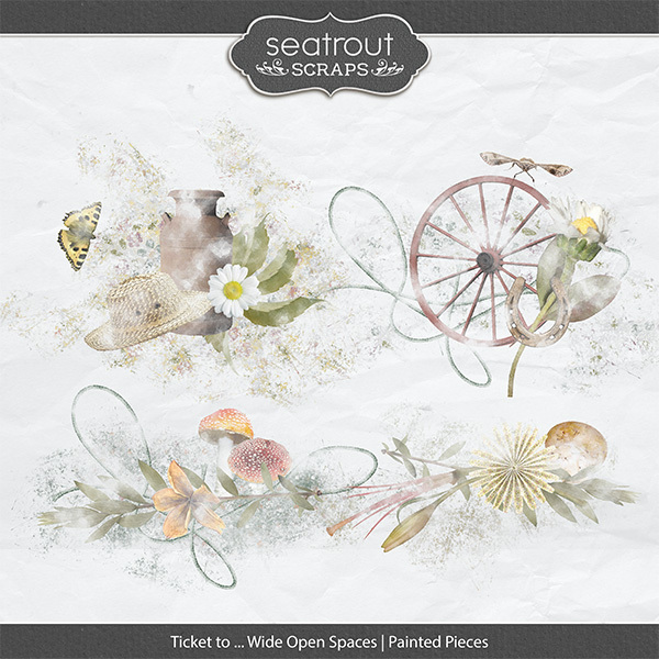 Ticket to ... Wide Open Spaces Painted Pieces Digital Art - Digital Scrapbooking Kits