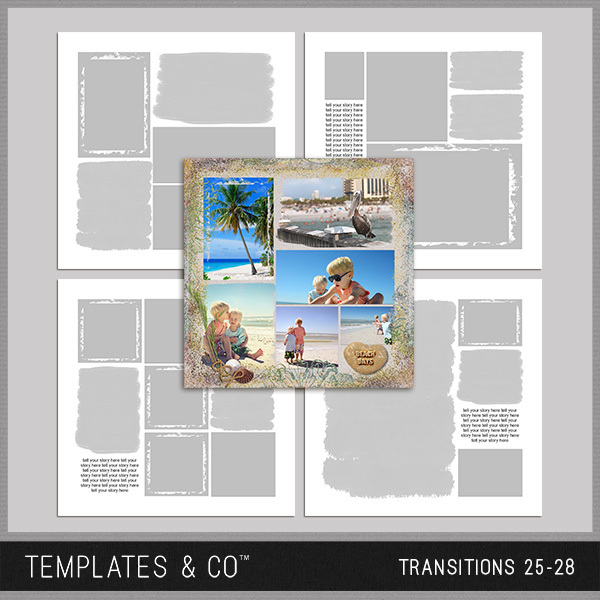 Transitions 25-28 Digital Art - Digital Scrapbooking Kits