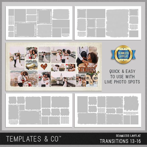 Seamless Layflat Transitions 13-16 Digital Art - Digital Scrapbooking Kits