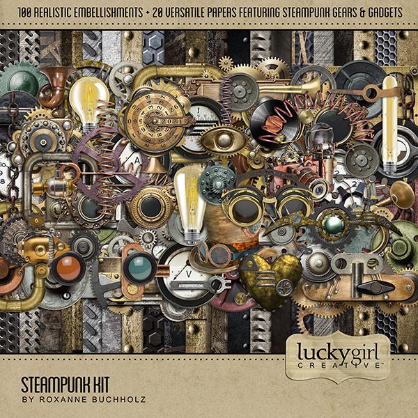 Steampunk Kit Digital Art - Digital Scrapbooking Kits