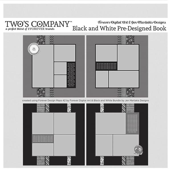 Black and White Pre-Designed Book Digital Art - Digital Scrapbooking Kits