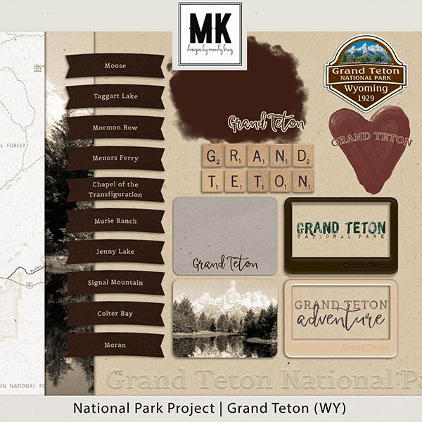 National Park Project Grand Teton Digital Art - Digital Scrapbooking Kits